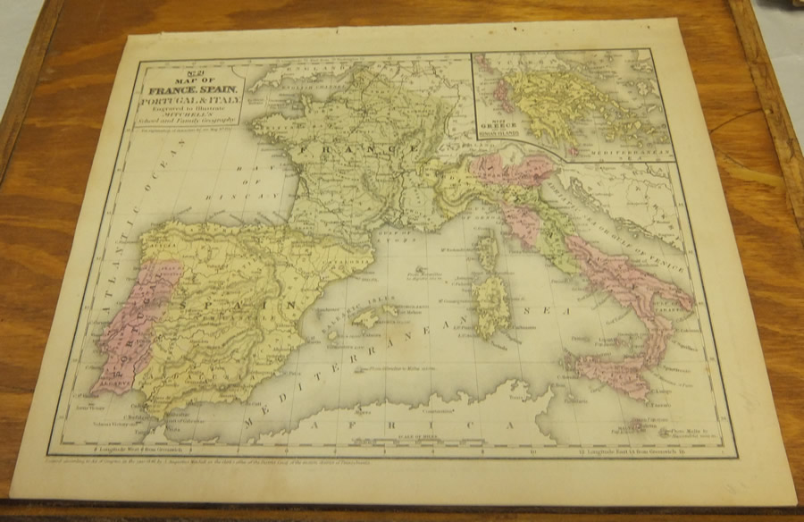 Antique COLOR Mitchell Map FRANCE SPAIN PORTUGAL ITALY - Portugal italy map