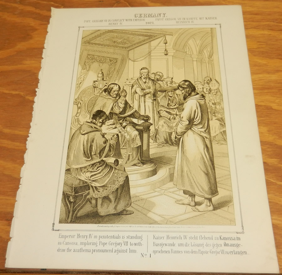 1863 Antique Print/POPE GREGORY VII IN 1077 CONFLICTS w ...