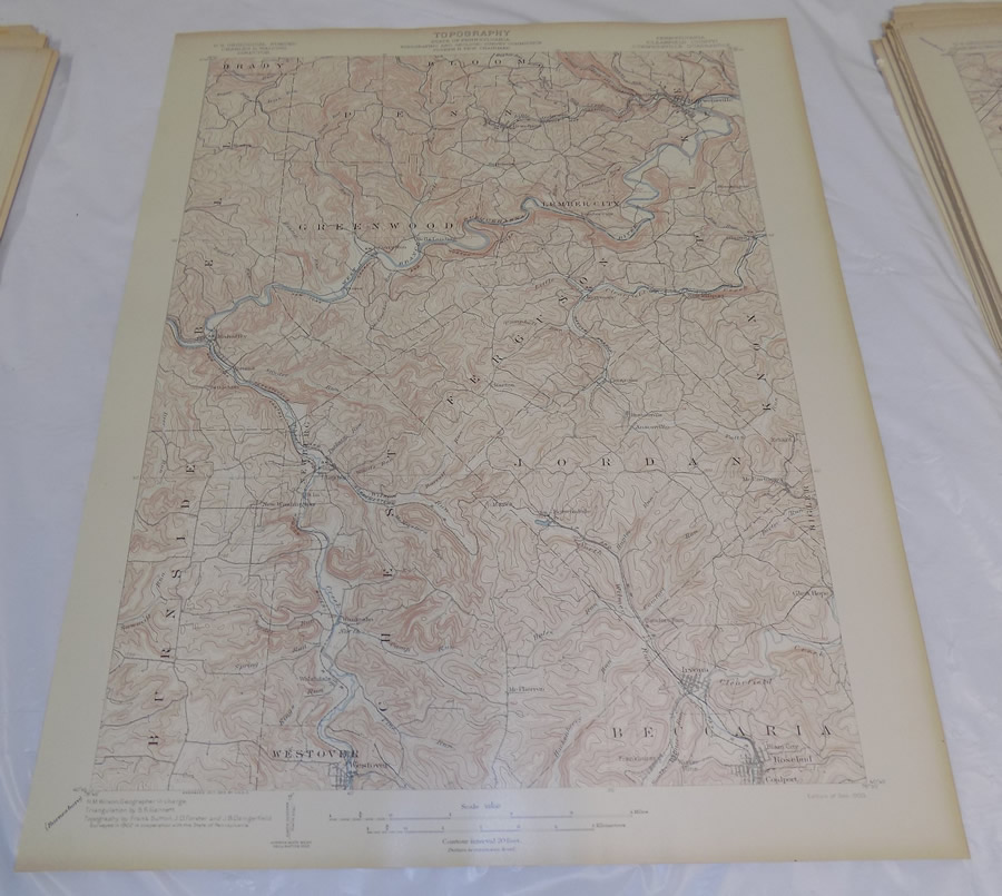 Details about 1903 Topographic Map of CURWENSVILLE QUADRANGLE, CLEARFIELD on