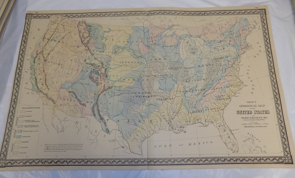 Details about 1870s Antique COLOR Map/GEOLOGICAL MAP OF THE UNITED  STATES/by Gray/17x27.5\